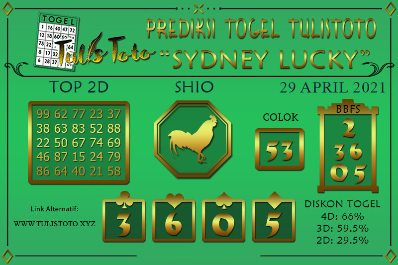 Prediksi Togel SYDNEY LUCKY TODAY TULISTOTO 29 APRIL 2021