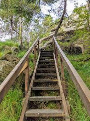 Staircase on the Fløyvarden cairn hike in Bergen