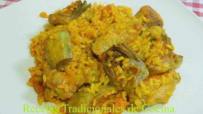 Receta fácil de arroz con alcachofas y pollo
