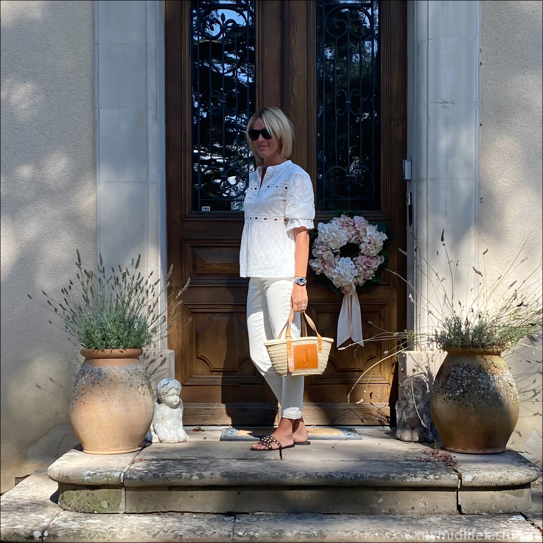 my midlife fashion, boden girlfriend jeans, lada monogrammed basket, zara leather studded sliders, fracomina broderie anglaise blouse