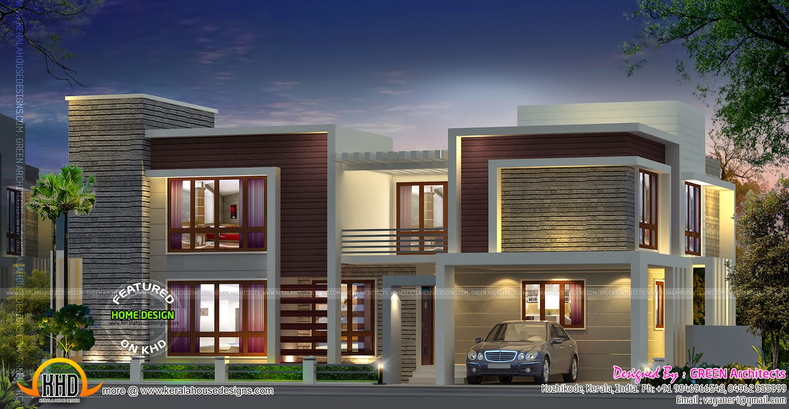 Contemporary house with double height living kerala home for Contemporary building elevation