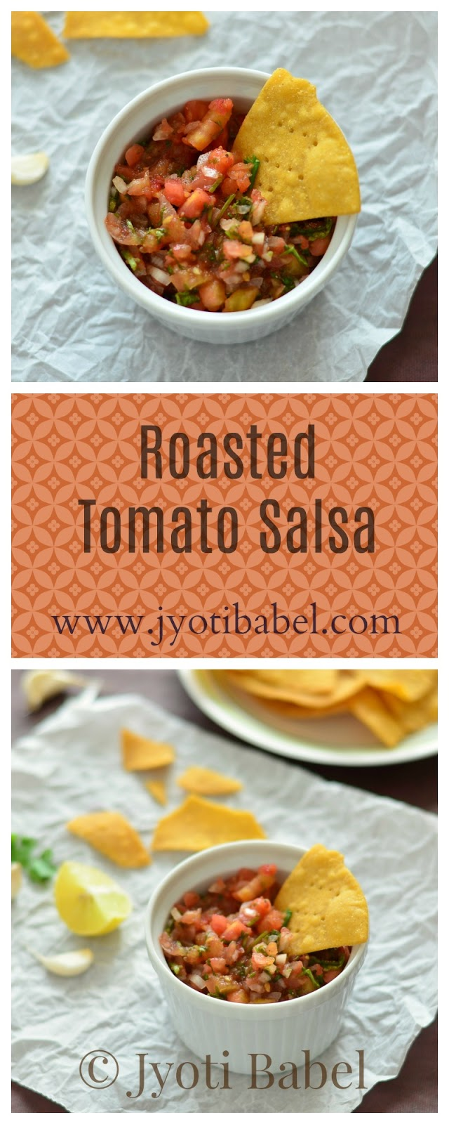 Roasted Tomato Salsa is one of the must accompaniments with tortilla chips. A medley of chopped roasted tomatoes, onions, chillies, coriander, spices and lemon juice makes for a lip-smacking dip. Recipe at www.jyotibabel.com