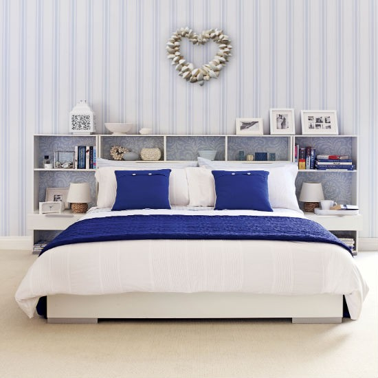 for Blue and white bedroom wallpaper