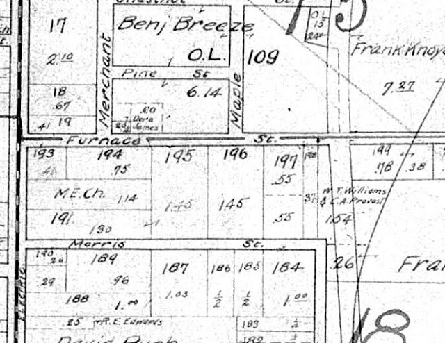 Section of 1910 map of Mineral Ridge, Ohio, showing Furnace and Morris Streets