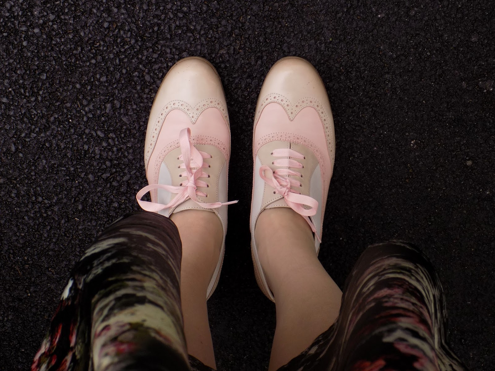 Clarks Hamble Oak pink peach brogues with pink ribbons