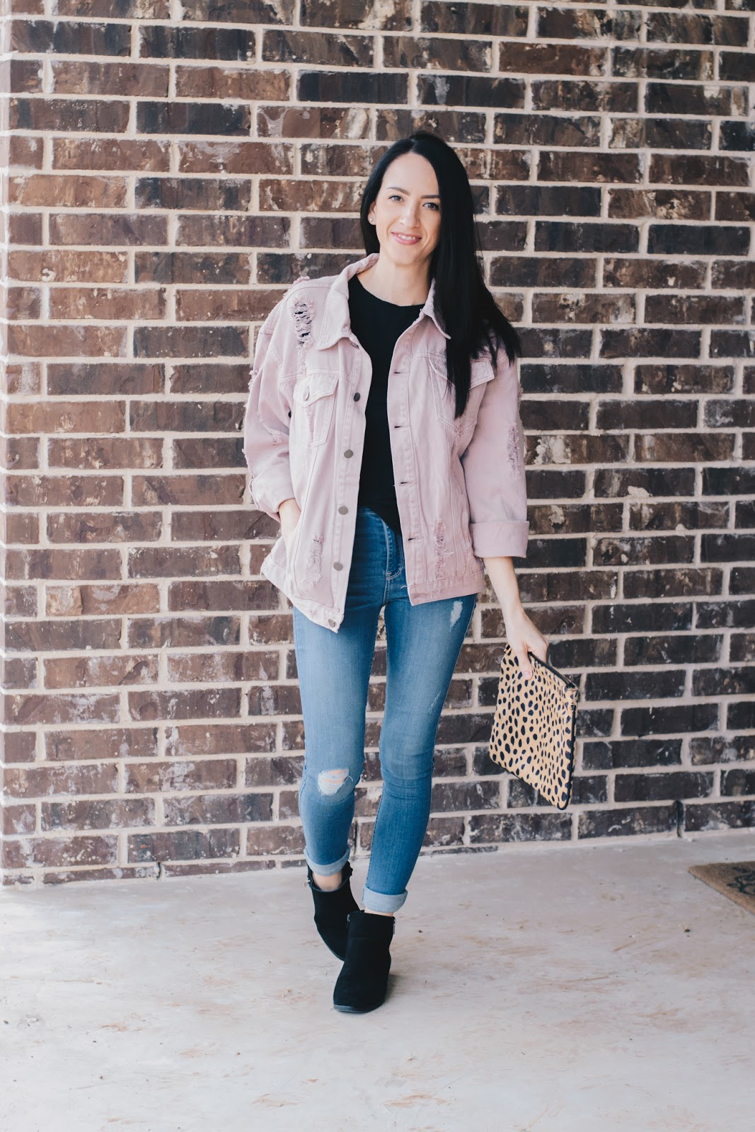 Casual style in denim jacket and booties