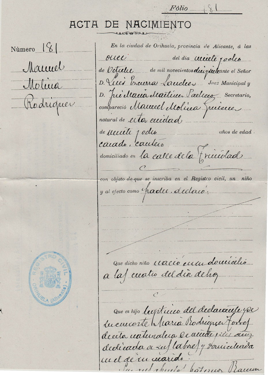 MANUEL MOLINA. Centenario nacimiento: Acta de nacimiento de Manuel ...