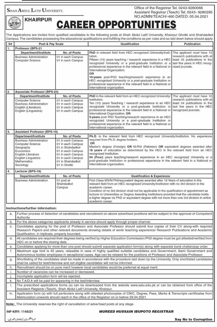 Shah Abdul Latif University SALU Khairpur, Government of the Sindh Jobs 2021 | Application Form