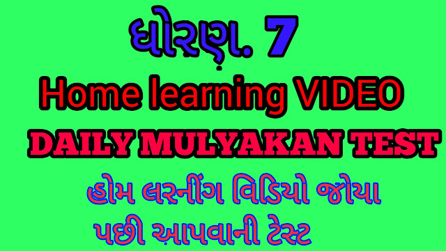 STD 7 HOME LEARNING DAILY MULYANKAN TEST