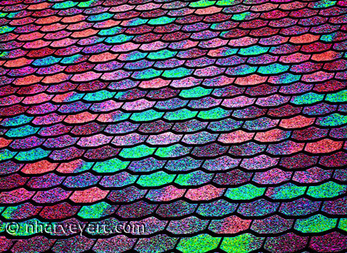 Roof Shingles colorful edit, pink purple turquoise green