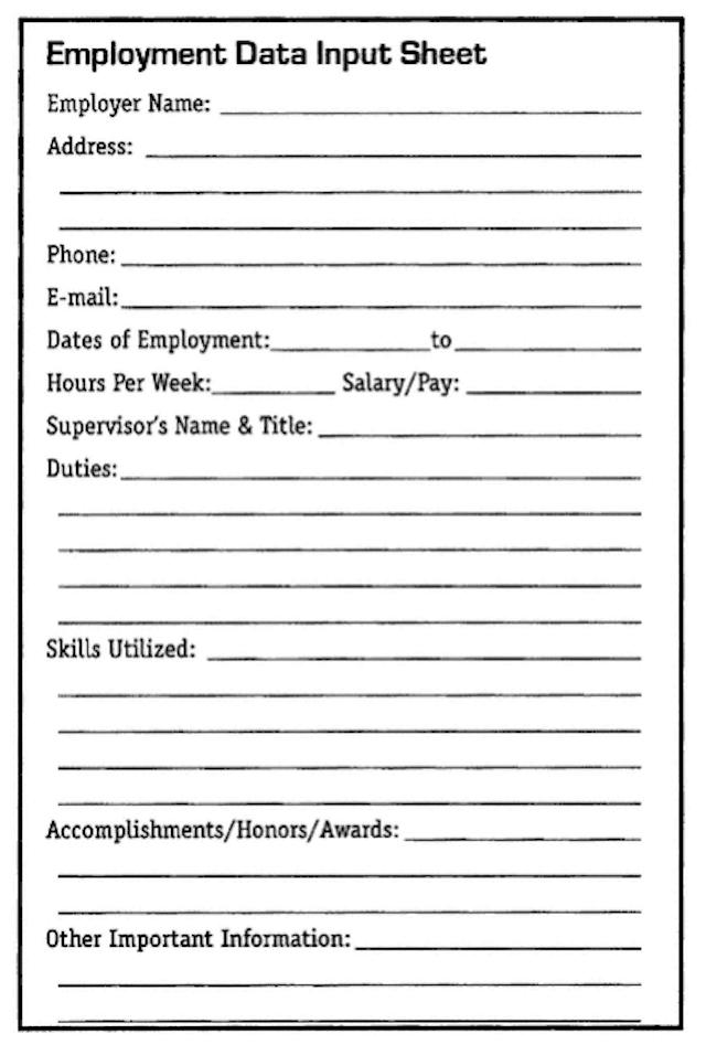 Employment Data Input Sheet