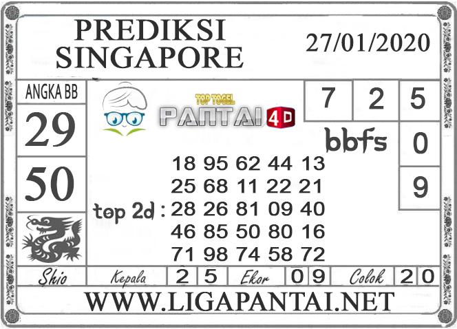 PREDIKSI TOGEL SINGAPORE PANTAI4D 27 JANUARI 2020