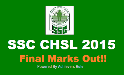 SSC CHSL 2015 Final Marks Out