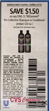 """$1.50/1 TRESemme Pro Coupon from """"RetailMeNot"""" insert week of 3/14/21."""
