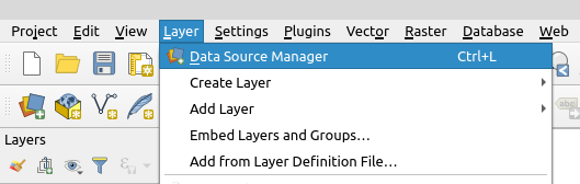 Data Source Manager QGIS