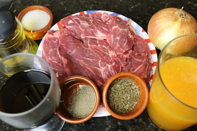 Ingredientes para presa ibérica en salsa de naranja