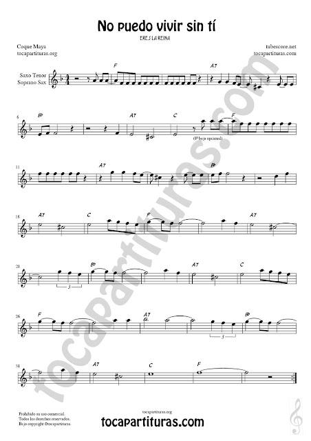 Soprano Sax y Saxo Tenor Partitura de No puedo vivir sin tí Sheet Music for Soprano Sax and Tenor Saxophone Music Scores