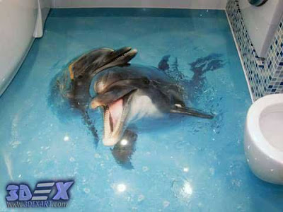 3d dolphin flooring mural, 3d bathroom floor with dolphin photo printing