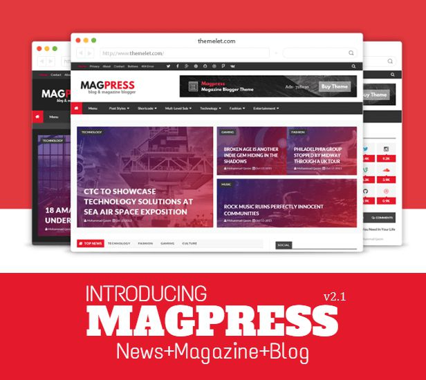 Magpress is a modern, clean, responsive, SEO- friendly and flat blogger template which is best suitable for magazine, news, blogs and multipurpose blog/website.