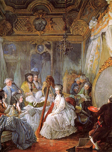 Marie Antoinette playing the harp at the French Court by Jean-Baptiste André Gautier d'Agoty, 1777