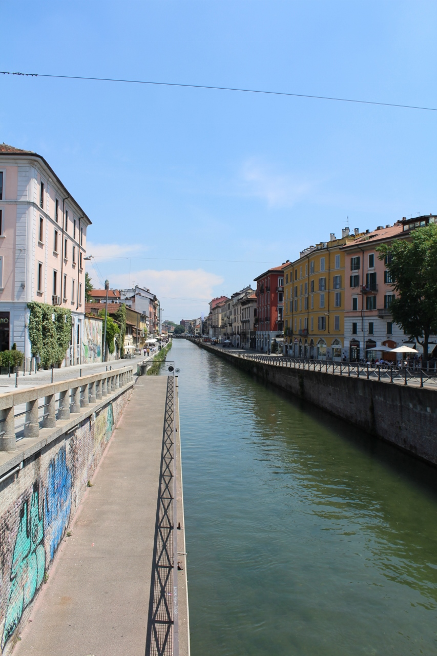 Buildings along canal in Milan
