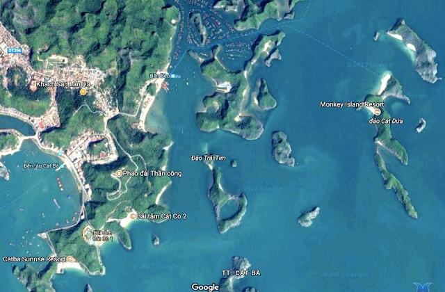 đảo cát bà nhìn từ vệ tinh