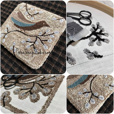 'Fly Away' Punch Needle Design by Rose Clay at ThreeSheepStudio.com , click on 'Studio/Shop'