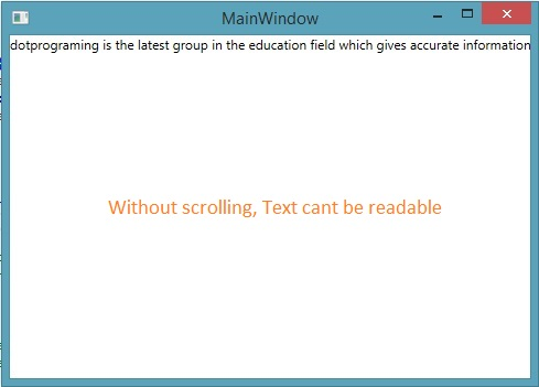 Text shown without ScrollViewer control in WPF