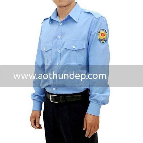 Áo đồng phục bảo vệ màu xanh tay dài