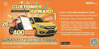 Dapatkan Honda Brio dan Hadiah menarik lainnya dengan menggunakan Pos Giro Mobile