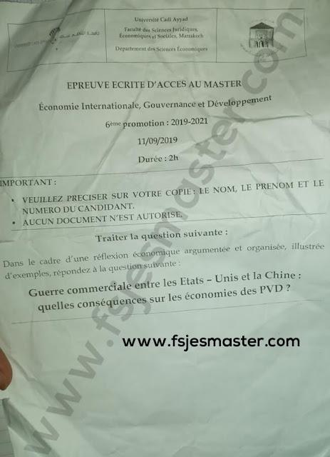 Exemple Concours Master Économie Internationale Gouvernance et Développement 2019-2020 - Fsjes Marrakech