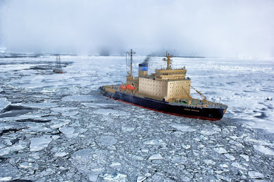 An icebreaker ship in frozen waters, representing the environmental impact of shipping in Canada