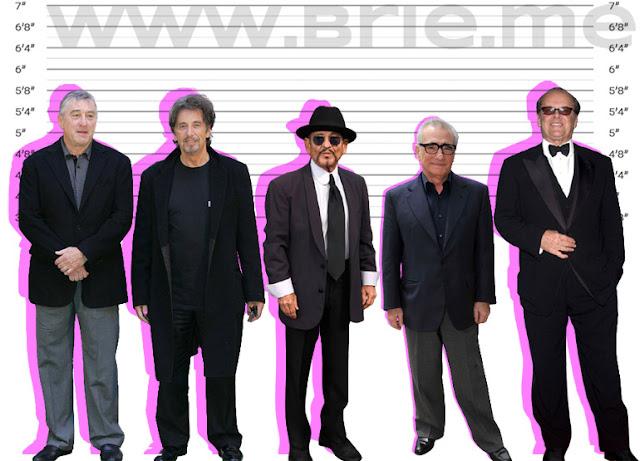 Robert De Niro, Al Pacino, Joe Pesci, Martin Scorsese, and Jack Nicholson height comparison