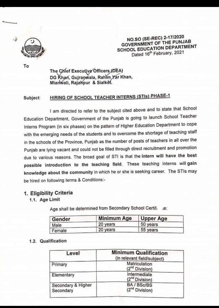 Punjab educator jobs 2021, 70000 Teaching jobs-Daily Base Teaching jobs