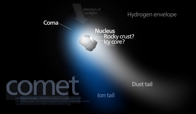 Different Parts Of A Comet