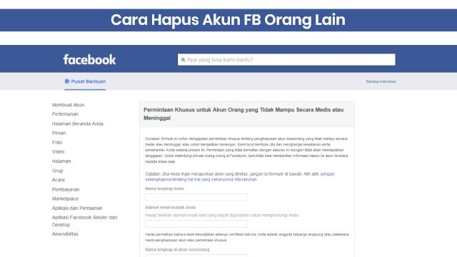 cara menutup akun facebook orang lain