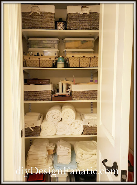 Master Bath, Master bath Linen , Organization, Organize, Cottage, Cottage Style, Farmhouse Style