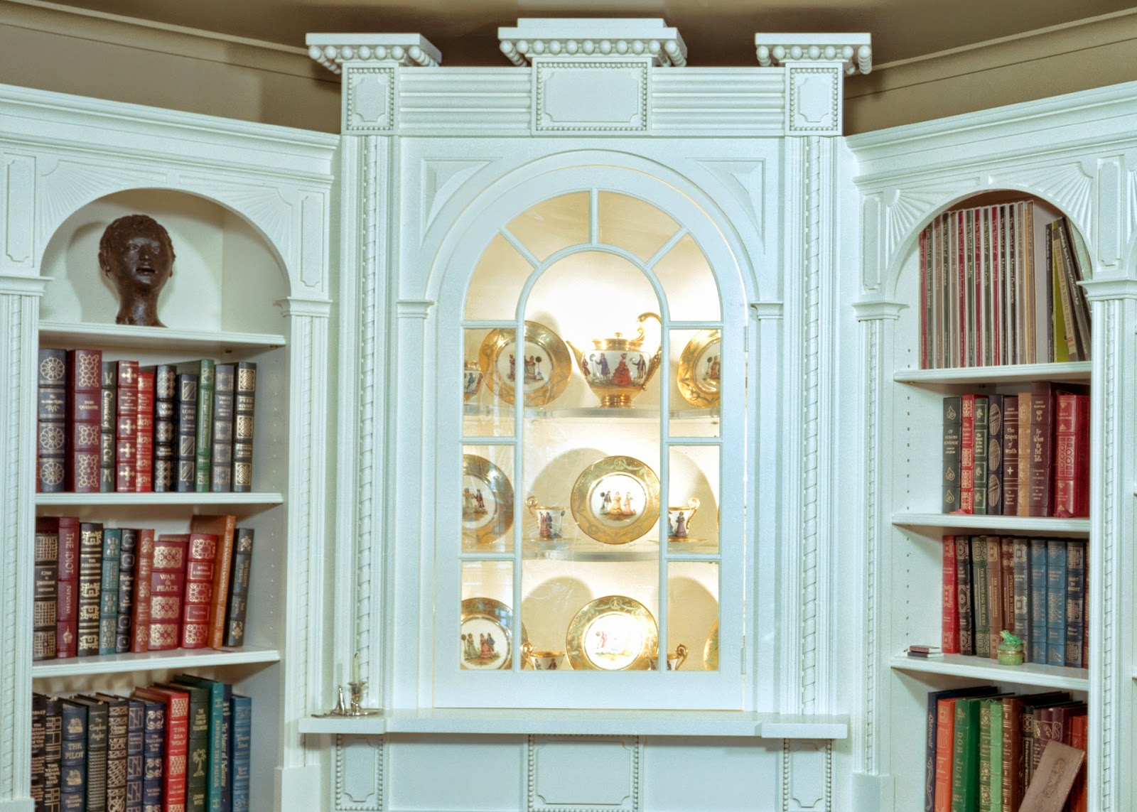 painted, white, library with fireplace and cabinetry, design styles and ideas for interior woodworking