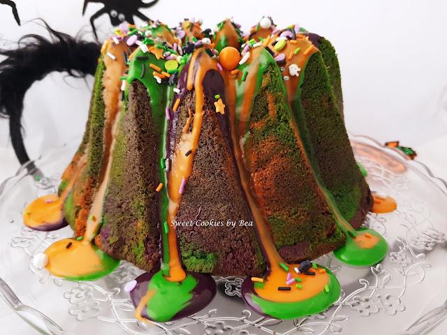 Bundt cake de nata montada para Halloween