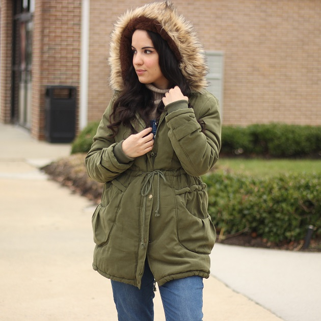 Beyove Faux Fur Lined Drawstring Hooded Jacket