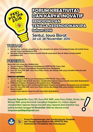 Forum Kreativitas dan Karya Inovatif  (FKKI) PTK IPA 2016