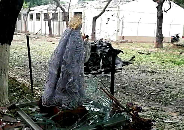 Virgem da Proteção: foto permite ver proximidade do carro bomba