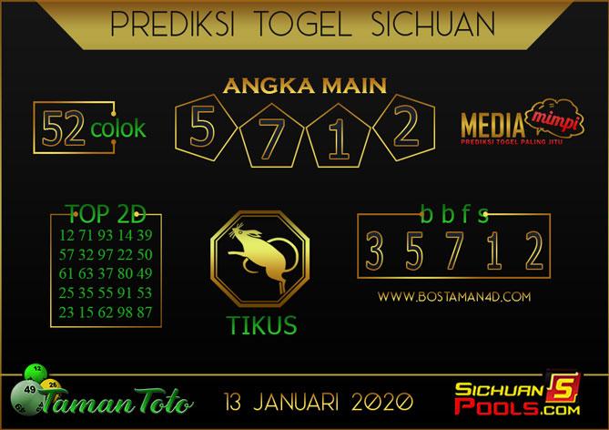Prediksi Togel SICHUAN TAMAN TOTO 13 JANUARI 2020