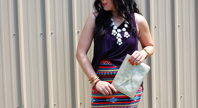 Vancouver fashion blogger,Southwestern bodycon mini skirt, hi-low tank and an Ily Couture statment necklace.