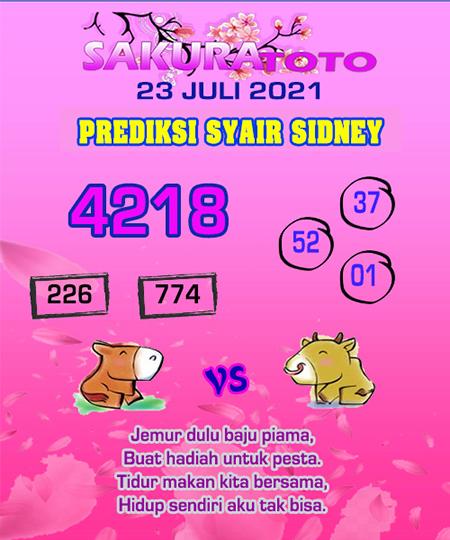 Prediksi Sakuratoto Sydney Jumat 23 Juli 2021