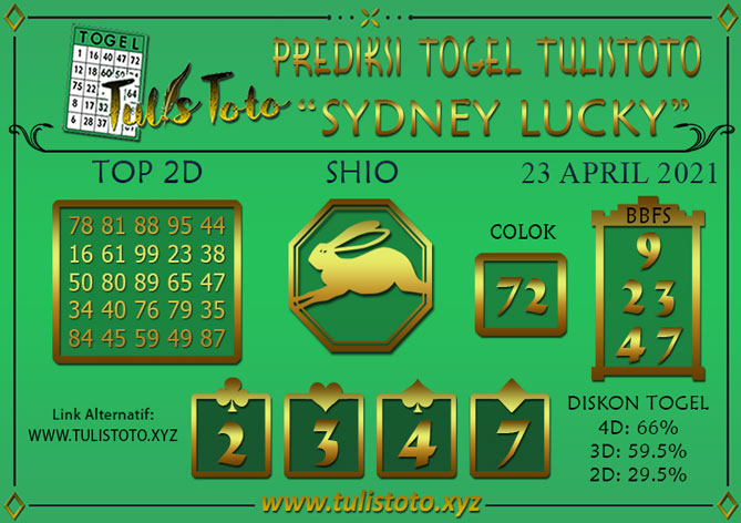Prediksi Togel SYDNEY LUCKY TODAY TULISTOTO 23 APRIL 2021