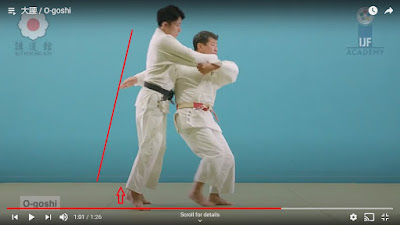 Picture of The breaking of the balence stage of O-Goshi with a red arrow at Uke's toe showing he is standing on them and a red line showing Uke is on an angle leaning forward.
