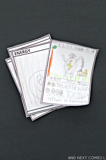 DIY Pokemon cards with free printable template for kids from And Next Comes L