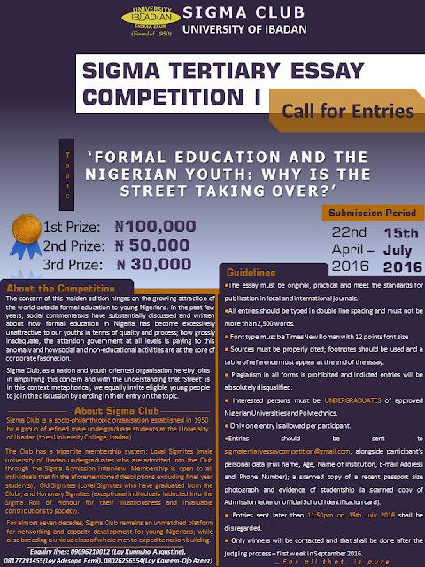 2016 essay competitions for nigerian undergraduates