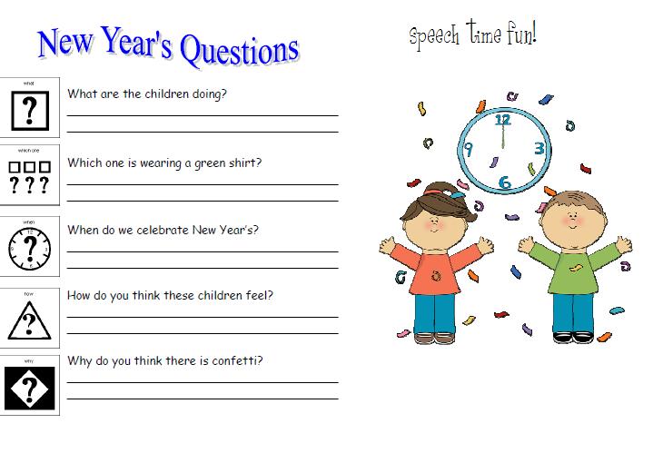 kindergarten new years writing activity